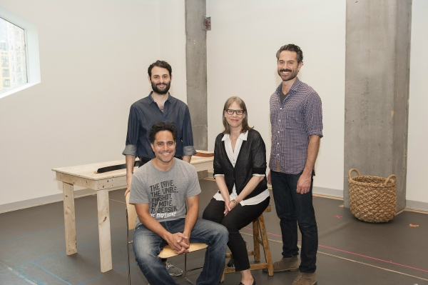 Arian Moayed, Omar Metwally, director Amy Morton, and playwright Rajiv Joseph