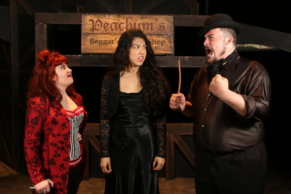 Sarah Porter as Mrs. Peachum, Cherlynn Alvarez as Polly Peachum, and Zachary Allen Farmer as Mr. Peachum