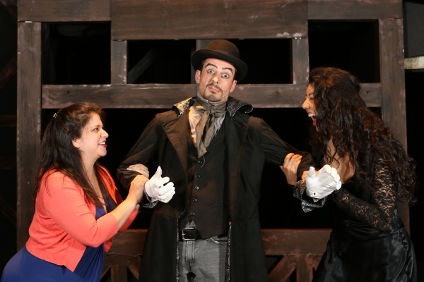 Christina Rios as Lucy Brown, Todd Schaefer as Capt. Macheath, and Cherlynn Alvarez a Photo