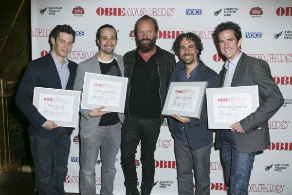 Thomas Kail, Lin-Manuel Miranda, Sting, Alex Lacamoire and Andy Blankenbuehler