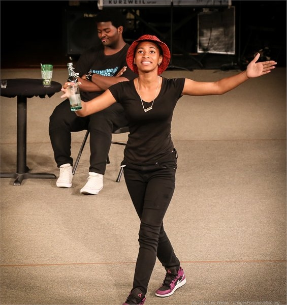 Gotham Professional Arts Academy students Shynai Shaford and Michael Smith in a scene from TOPDOG UNDERDOG at TEENS ON BROADWAY 2015