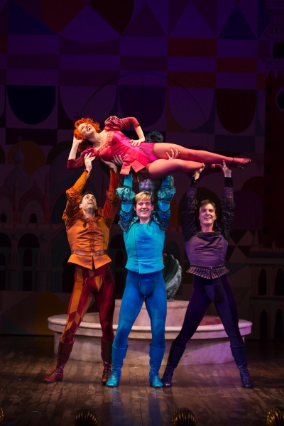 Megan Sikora as Bianca, Barrett Martin as Gremio, Giovanni Bonaventura as Hortensio, and Tyler Hanes as Lucentio