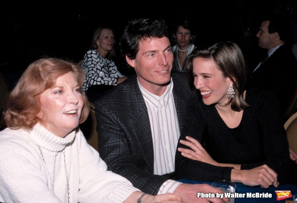 Anne Meara, Christopher Reeve and Dana Reeve on April 12, 1990 in New York City.  Photo