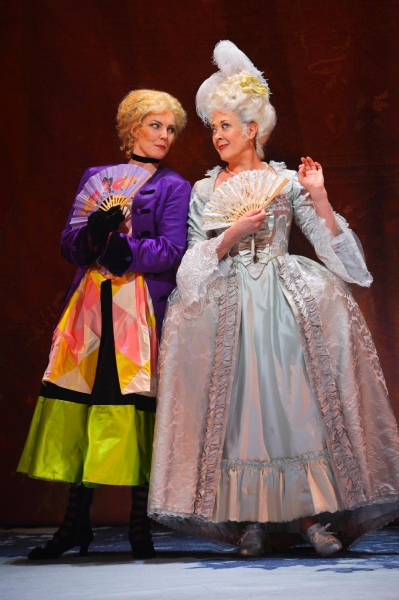 Desiree Armfeldt (Tony Award winner Karen Ziemba) (right) performs ''The Glamorous Life'' with Mrs. Andersson (Annemaria Rajala