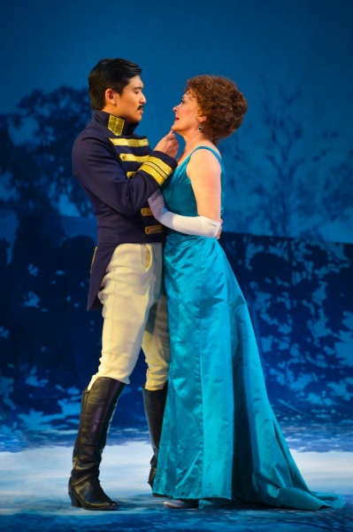 Count Carl-Magnus Malcolm (Paolo Montalban) caresses Desiree Armfeldt (Tony Award winner Karen Ziemba)