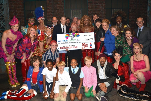 Photo flash bc efa kinky boots cast presents 150k to for Cyndi lauper broadway kinky boots