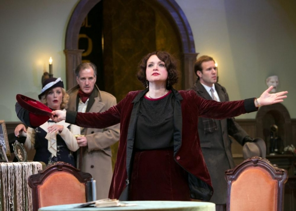 Julie Cavendish (Roxanna Hope) threatens to leave the theatre and the spotlight behind, as Kitty Dean (Allison Mackie), Herbert Dean (Matt Sullivan), and Perry Stewart (Tug Rice) look on.
