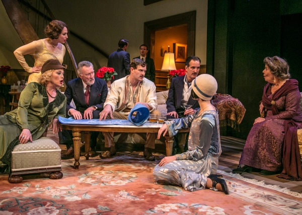 Kitty Dean (Allison Mackie), Julie Cavendish (Roxanna Hope), Oscar Wolfe (Edmond Genest), Herbert Dean (Matt Sullivan), Gwen Cavendish (Samantha Bruce), and Fanny Cavendish (Elizabeth Shepherd) listen as Tony Cavendish (Benjamin Sterling) tells tales abou