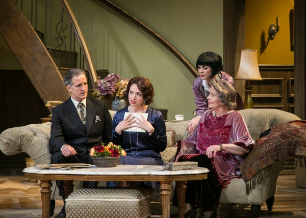 Julie Cavendish (Roxanna Hope) holds a letter from her brother Tony as Herbert Dean (Matt Sullivan), Gwen Cavendish (Samantha Bruce), and Fanny Cavendish (Elizabeth Shepherd) look on.