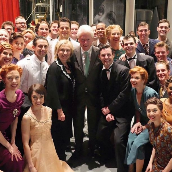 Max von Essen, Robert Fairchild, Leanne Cope and Cast with Bill Clinton and Hilary Clinton