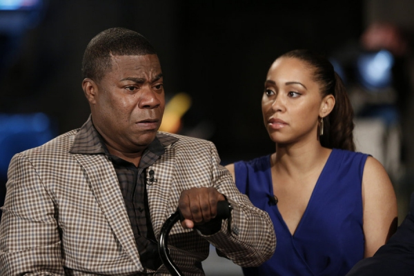 NBC NIGHTLY NEWS -- Pictured: (l-r) Tracy Morgan and Megan Wollover appear on ''NBC Nightly News'' on Monday, June 1, 2015 -- (Photo by: Peter Kramer/NBC)