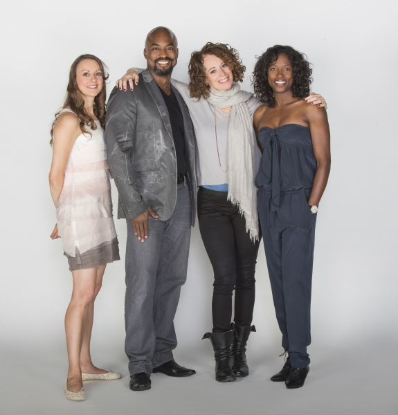 Director Rebecca Taichman (second from right) with cast members (from left) Sara Topham, Terenece Archie, and Rutina Wesley