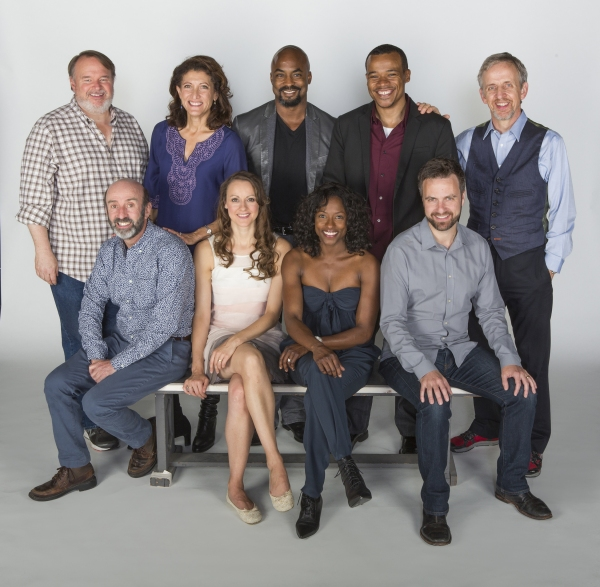 Cast members from Twelfth Night: (back row, from left) Tom McGowan, Amy Aquino, Terence Archie, LeRoy McClain, and Robert Joy; (front row) Patrick Kerr, Sara Topham, Rutina Wesley, and Manoel Felciano