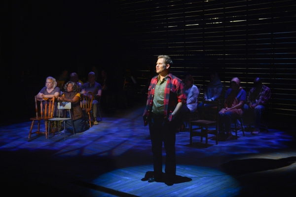 Chad Kimball (front) and the cast of La Jolla Playhouse''s world-premiere musical COME FROM AWAY