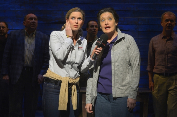 Allison Spratt Pearce and Petrina Bromley with the cast of La Jolla Playhouse''s world-premiere musical COME FROM AWAY