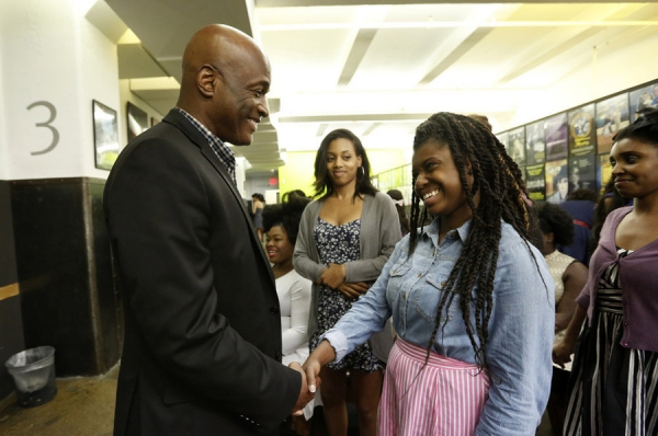 THE WIZ LIVE! -- ''Open Auditions in New York City on Saturday June 6, 2015'' -- Pictured: At today''s open casting call in NYC for NBC''s holiday musical ''The Wiz Live!,'' director Kenny Leon meets some of the ''Dorothy'' hopefuls -- (Photo by: Peter Kr