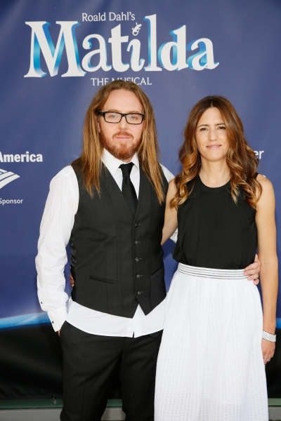 LOS ANGELES, CA - JUNE 7: Composer/Lyricist Tim Minchin (L) and wife Sarah Minchin (R) arrive for the opening night performance of ''Matilda The Musical'' at Center Theatre Group/Ahmanson Theatre on June 7, 2015, in Los Angeles, California. (Photo by Ryan