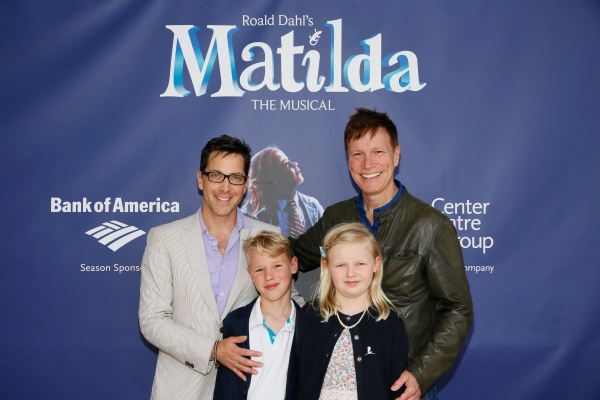LOS ANGELES, CA - JUNE 7: (L-R) Actor Dan Bucatinsky, Jonah Bucatinsky, Eliza Bucatinsky and Don Roos arrive for the opening night performance of ''Matilda The Musical'' at Center Theatre Group/Ahmanson Theatre on June 7, 2015, in Los Angeles, California.