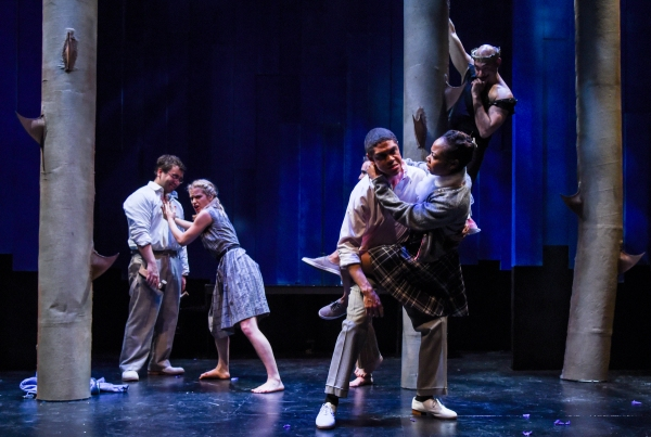 Oberon (Andrew Guilarte) observe the Lovers, Demetrius (Emilio Tirado) and Helena (Becca Ballenger), with Lysander (Reynaldo Piniella), and Hermia (Sheria Irving).