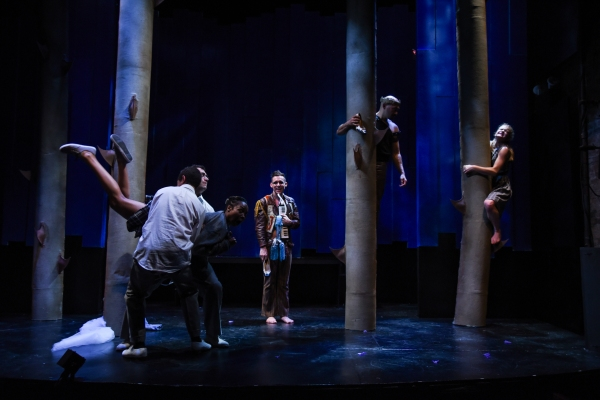 Oberon (Andrew Guilarte) observe the Lovers, Demetrius (Emilio Tirado) & Lysander (Reynaldo Piniella), holding off Hermia (Sheria Irving), as Helena (Becca Ballenger) flees up a tree.