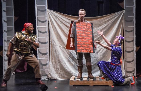 Warren Jackson (as Nick Bottom), Jack Herholdt (as Snout) and Em Grosland (as Francis Flute)
