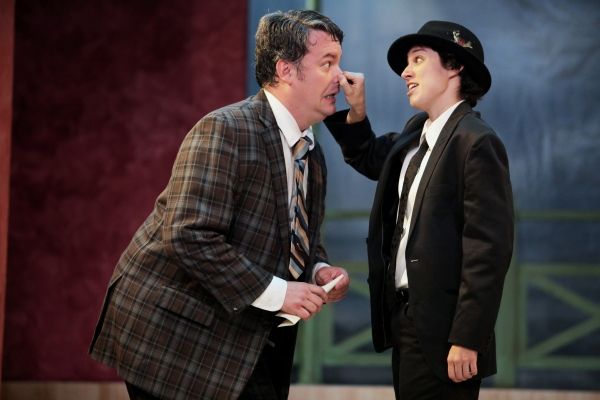Matthew Lewis Johnson as Francis Henshall and one of his ''guvnors'' Caitlin McWethy  Photo