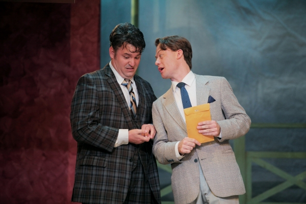 Matthew Lewis Johnson as Francis Henshall and one of his ''guvnors'' Justin McCombs as Stanley Stubbers