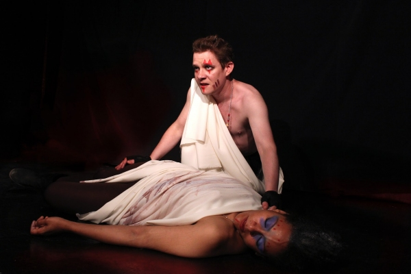 Jonathan Emerson (Mark Antony), Serena Miller (Caesar) Photo