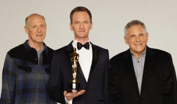 Craig Zadan & Neil Meron with 87th Oscars host Neil Patrick Harris