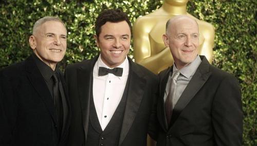 Craig Zadan & Neil Meron with 85th Oscars host Seth MacFarlane