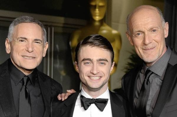 Craig Zadan, Daniel Radcliffe & Neil Meron outside the Governors Ball, post-Oscars telecast.