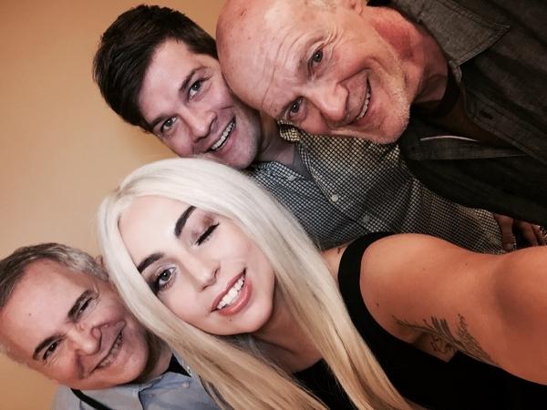 Music rehearsal: Craig Zadan, Lady Gaga, music director Stephen Oremus & Neil Meron