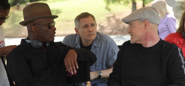 On the set of A RAISIN IN THE SUN: director Kenny Leon with Craig Zadan & Neil Meron.