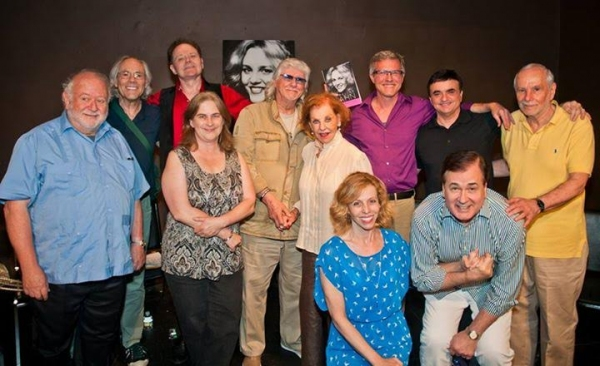 Foreground: Maddie Corman (co-star, ''Mr. President''), Lee Roy Reams (', ''Hello, Dolly!''). Standing: Jonathan Lynn (writer/', ''Clue''), Robert Klein (co-star, ''Sisters Rosensweig), Walter Willison (co-star, ''Two by Two''), Carol J. Baw