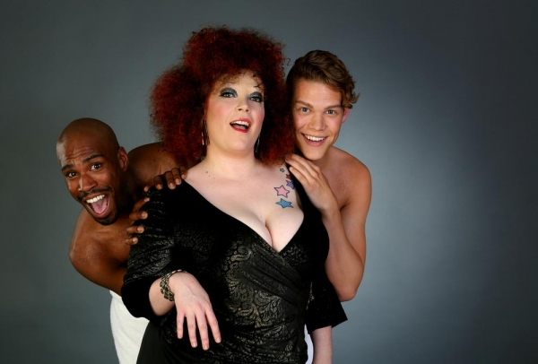 Caitlin Jackson (center) as Bette Midler flanked by TJ Crawford (left) and Adam Fane (right)