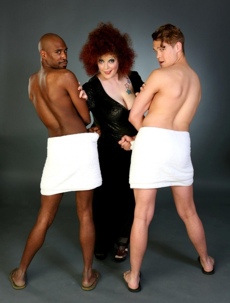 Caitlin Jackson (center) as Bette Midler flanked by TJ Crawford (left) and Adam Fane  Photo