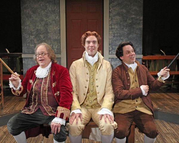 Richard Daniels as Benjamin Franklin, Nicholas Carroll as Thomas Jefferson and Greg Horton as John Adams perform ''The Egg''