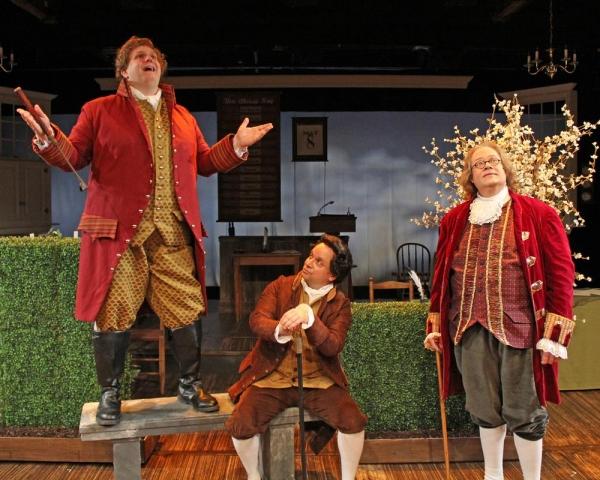 Joe York as Richard Henry Lee, Greg Horton as John Adams and Richard Daniel as Benjamin Franklin perform ''The Lees of Old Virginia''