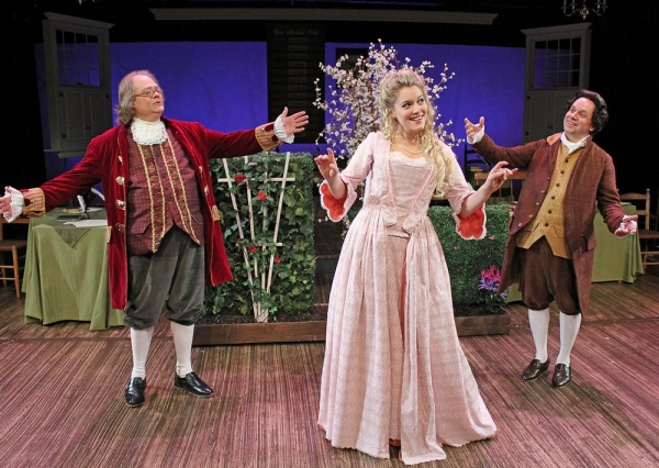 Richard Daniel as Benjamin Franklin, Rachel Womble as Martha Jefferson and Greg Horto Photo