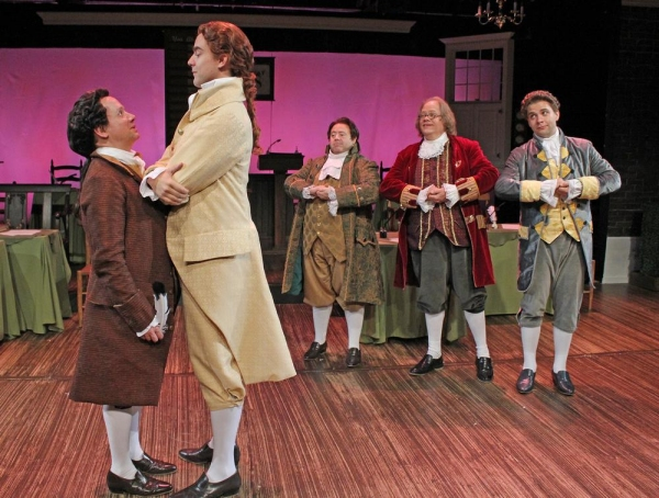 Greg Horton as John Adams, Nicholas Carroll as Thomas Jefferson, Lionel Ruland as Rog Photo