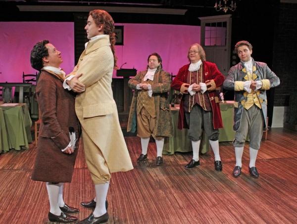 Greg Horton as John Adams, Nicholas Carroll as Thomas Jefferson, Lionel Ruland as Roger Sherman, Richard Daniel as Benjamin Franklin and Coleman Hemsath as Robert Livingston perform ''But Mr. Adams''