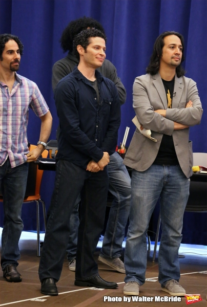 The Hamilton creative team:  Alex Lacamoire (musical supervision and orchestrations), Thomas Kail (director) and Lin-Manuel Miranda (book, music, and lyrics)