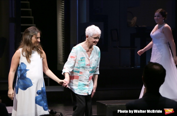 Sas Goldberg, Barbara Barrie and Lindsay Mendez   during curtain call at the ''Significant Other'' Opening Night at Laura Pels Theatre on June 18, 2015 in New York City.