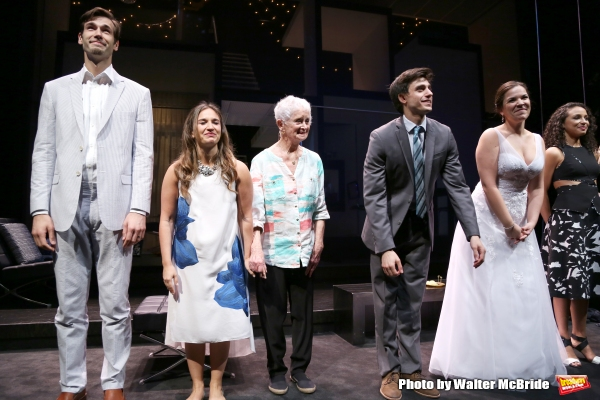 John Behlman, Sas Goldberg, Barbara Barrie, Gideon Glick, Lindsay Mendez and Carra Patterson during curtain call at the ''Significant Other'' Opening Night at Laura Pels Theatre on June 18, 2015 in New York City.