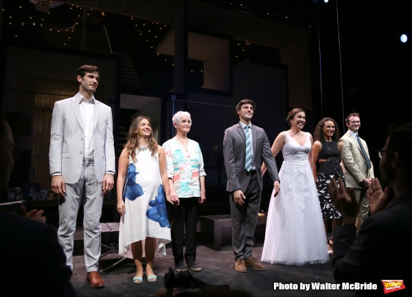 John Behlman, Sas Goldberg, Barbara Barrie, Gideon Glick, Lindsay Mendez, Carra Patterson, and Luke Smith  during curtain call at the ''Significant Other'' Opening Night at Laura Pels Theatre on June 18, 2015 in New York City.