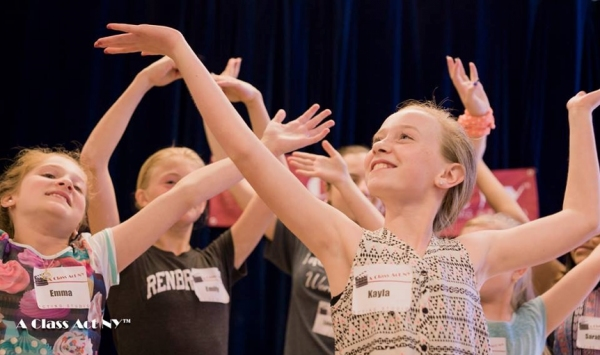 A Class Act NY students learning the Prologue and dance combination from INTO THE WOODS with Lilla Crawford