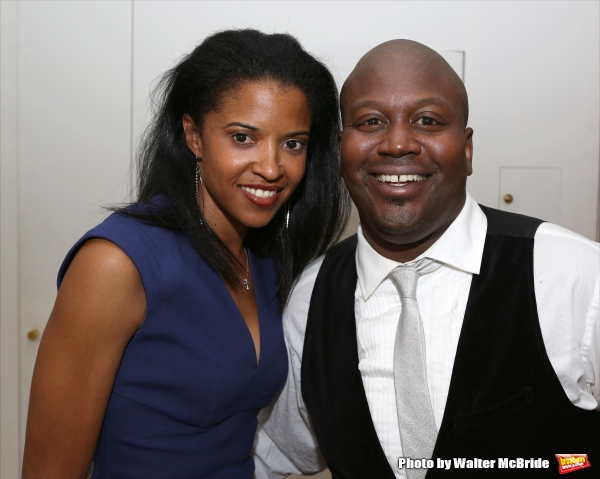 Renee Elise Goldsberry and Tituss Burgess attend ''Parlor Night'' A benefit evening for The Broadway Inspirational Voices Outreach Program at the home of Roy and Jenny Neiderhoffer on June 22, 2015 in New York City.