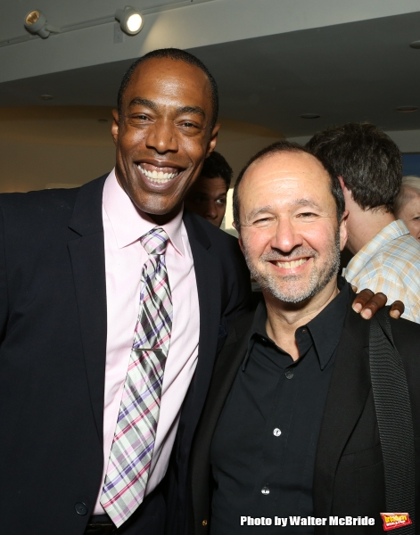 Michael McElroy and Steve Lutvak attend ''Parlor Night'' A benefit evening for The Broadway Inspirational Voices Outreach Program at the home of Roy and Jenny Neiderhoffer on June 22, 2015 in New York City.