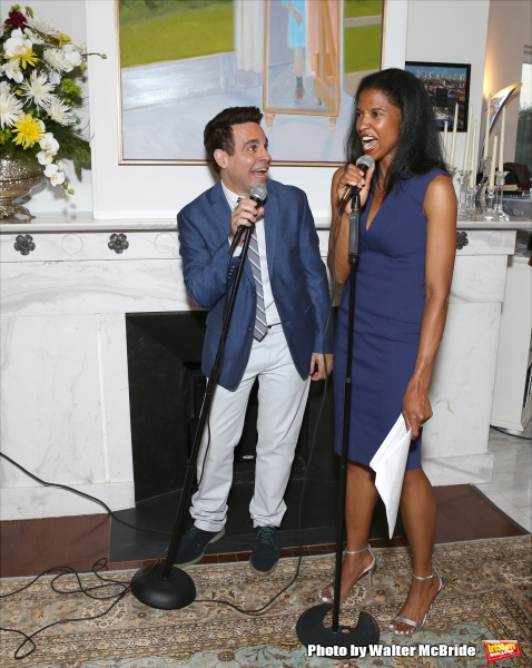 Mario Cantone and Renee Elise Goldsberry perform at ''Parlor Night'' A benefit evening for The Broadway Inspirational Voices Outreach Program at the home of Roy and Jenny Neiderhoffer on June 22, 2015 in New York City.