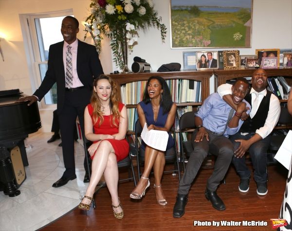 Michael McElroy, Eden Espinosa, Renee Elise Goldsberry, Marcus Paul James and Tituss Burgess attend ''Parlor Night'' A benefit evening for The Broadway Inspirational Voices Outreach Program at the home of Roy and Jenny Neiderhoffer on June 22, 2015 in New